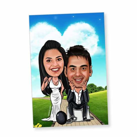 Chained in Love - Caricature magnet