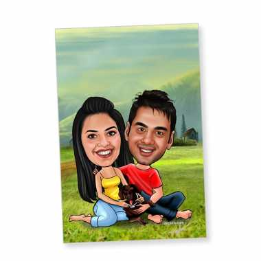 Lovely Couple with Dog Caricature Magnet