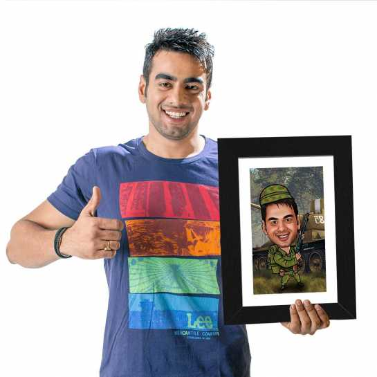 Millitry Man - Caricature Photo Frame