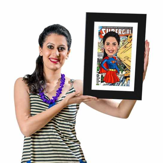 Super Girl - Caricature Photo Frame