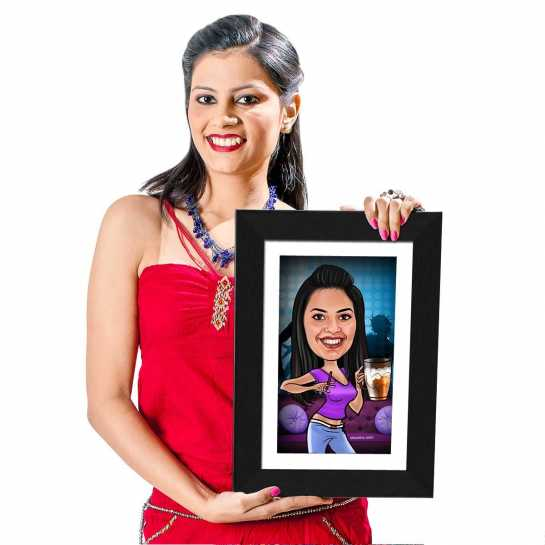 Beer Girl - Caricature Photo Frame