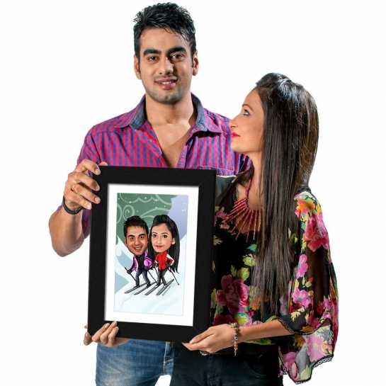 Skiing Couple - Caricature Photo Frame