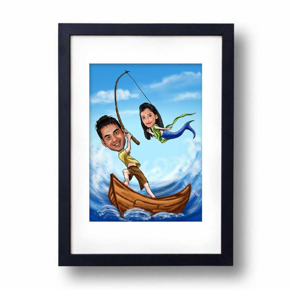 Caricature Photo frame, Personalized Gifts for men | Gifts for girls