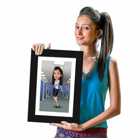 Office Girl (Standing) - Caricature Photo Frame