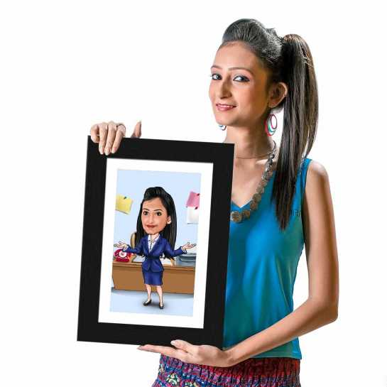 Office Girl (Dark Blue Dress) - Caricature Photo Frame