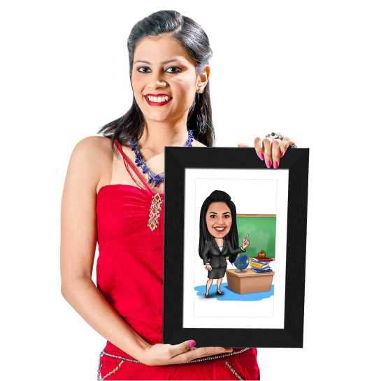Office Girl (Black Dress) - Caricature Photo Frame