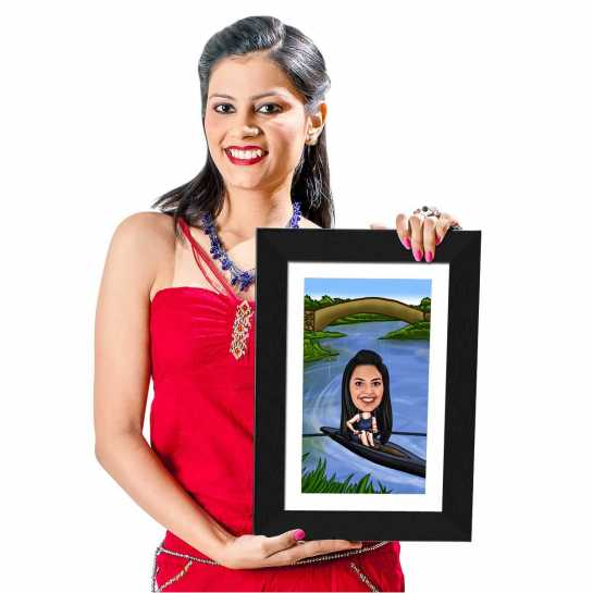 Kayaking- Caricature Photo Frame