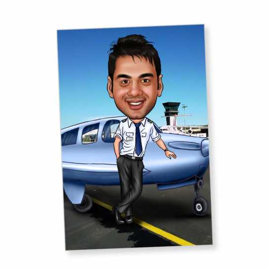Pilot - Caricature Fridge Magnet