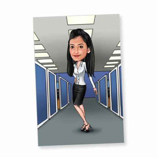Office Girl (Standing) - Caricature Fridge Magnet