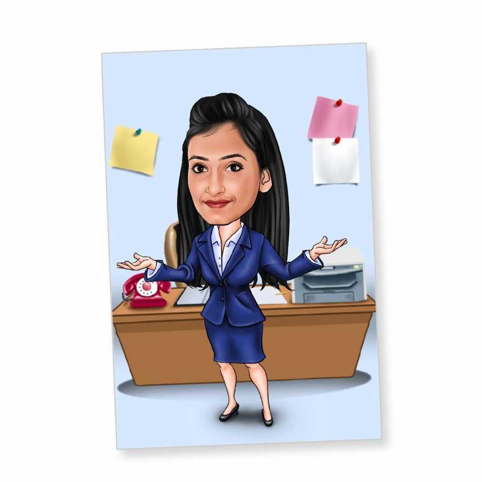 office girl dark blue dress   caricature fridge mag