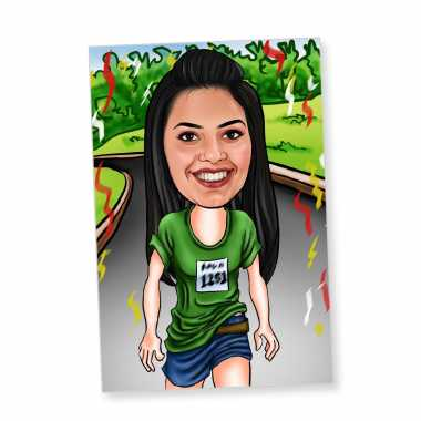 Runner Girl Caricature Magnet