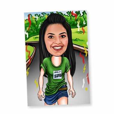 Runner Girl Caricature Magnet