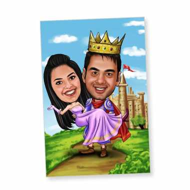 Sophisticated Couple Caricature Magnet