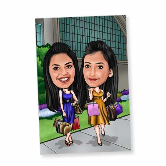 Shopping Buddies - Caricature Fridge Magnet