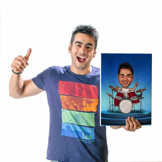 Drummer - Caricature Canvas