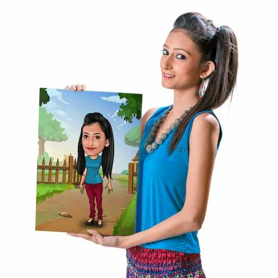 Girl Next Door - Caricature Canvas