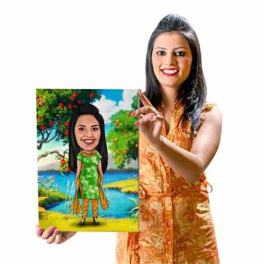 Traditional - Green Dress - Caricature Canvas