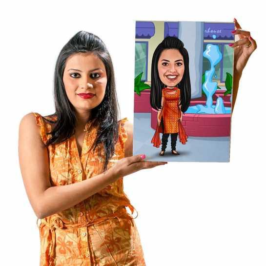 Traditional - Orange Dress - Caricature Canvas