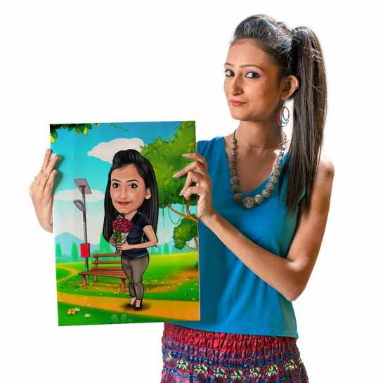 Sweet Girl with Flowers - Caricature Canvas