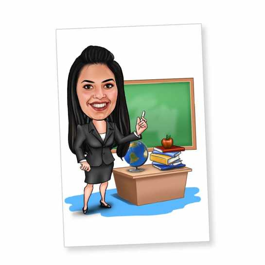Office Girl (Black Dress) - Caricature Fridge Magnet
