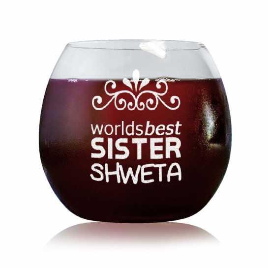 World's Best Sister - Stylish Wine Glasses