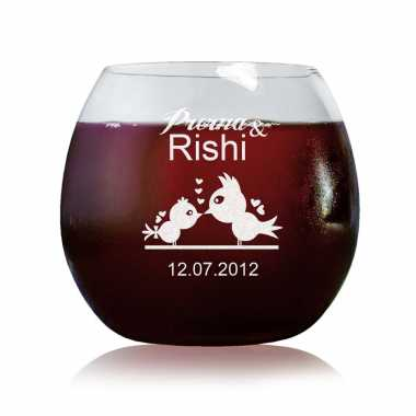 Lovebirds Customized Wine Glass
