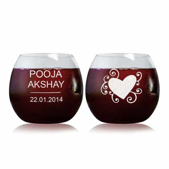 Graphic Heart - Stylish Wine Glasses