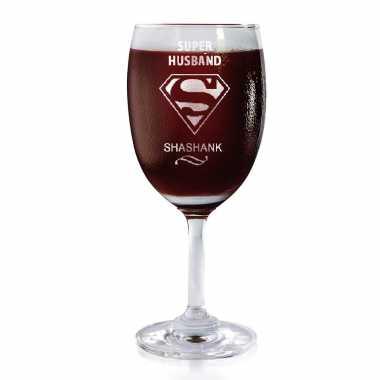 Engraved Wine Glass for Super Husband