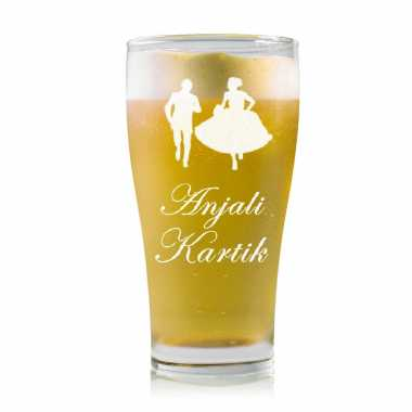 Bride and Groom Beer Glass
