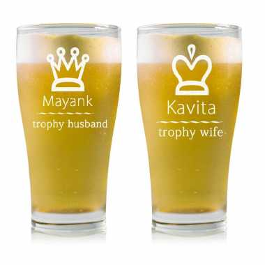Trophy Husband Wife Beer Mug