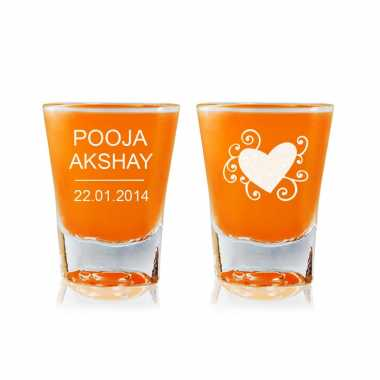 Shot Glass With Graphic Heart for Girlfriend