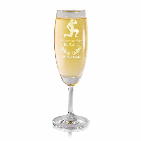 Super Strong Husband - Champagne Glass