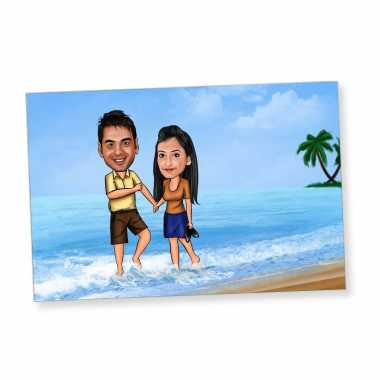 Couple on Beach - Caricature Fridge Magnet