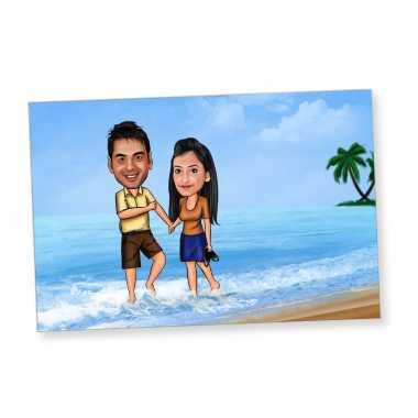 Couple on Beach - Caricature Fridge Magnet