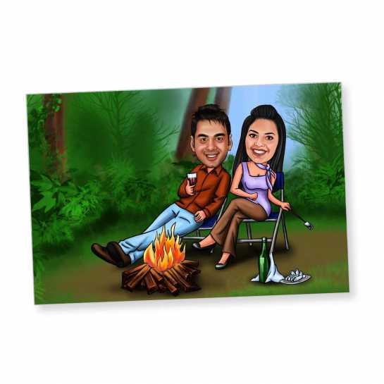 Camping Couple - Caricature Fridge Magnet