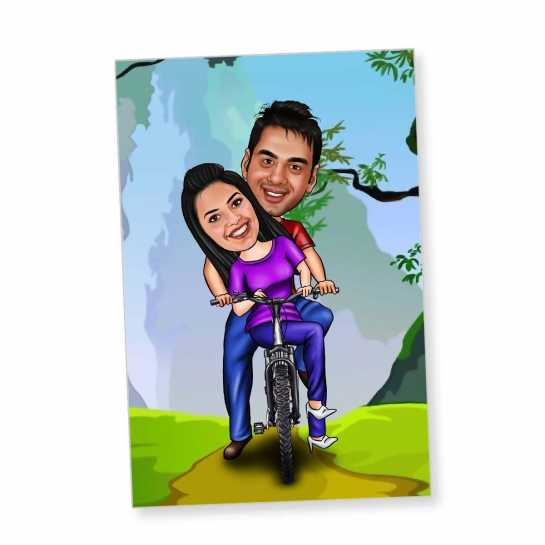 Cycling Couple - Caricature Fridge Magnet