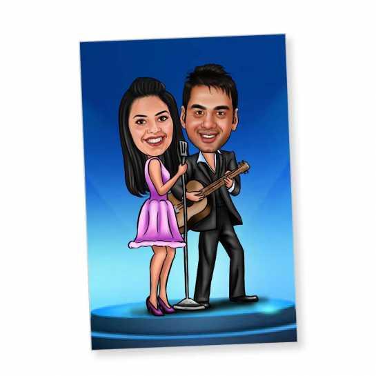 Singing Couple - Caricature Fridge Magnet