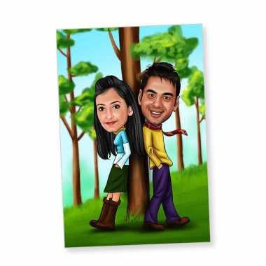 Filmi Couple - Caricature Fridge Magnet