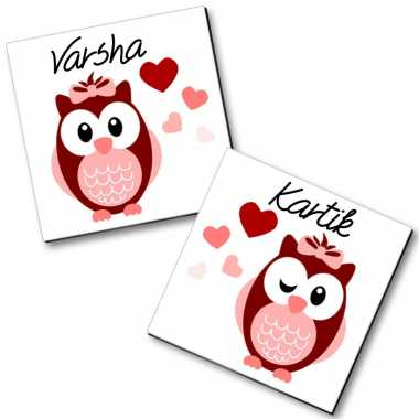 Love Struck Owls Personalized Magnets