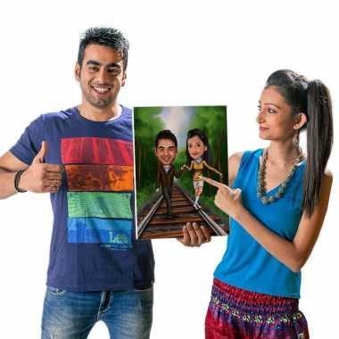 Couple on Tracks - Caricature Canvas