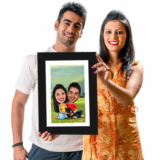 Couple and Dog - Caricature Photo Frame