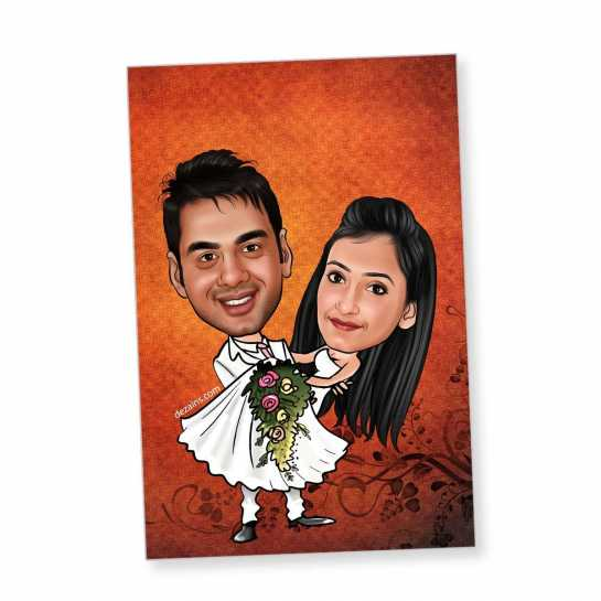 Just Married - Caricature Fridge Magnet