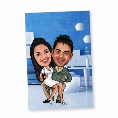 Sitting on Lap - Caricature Fridge Magnet