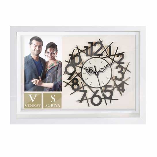 Personalized Photo Wall Clock for Couples