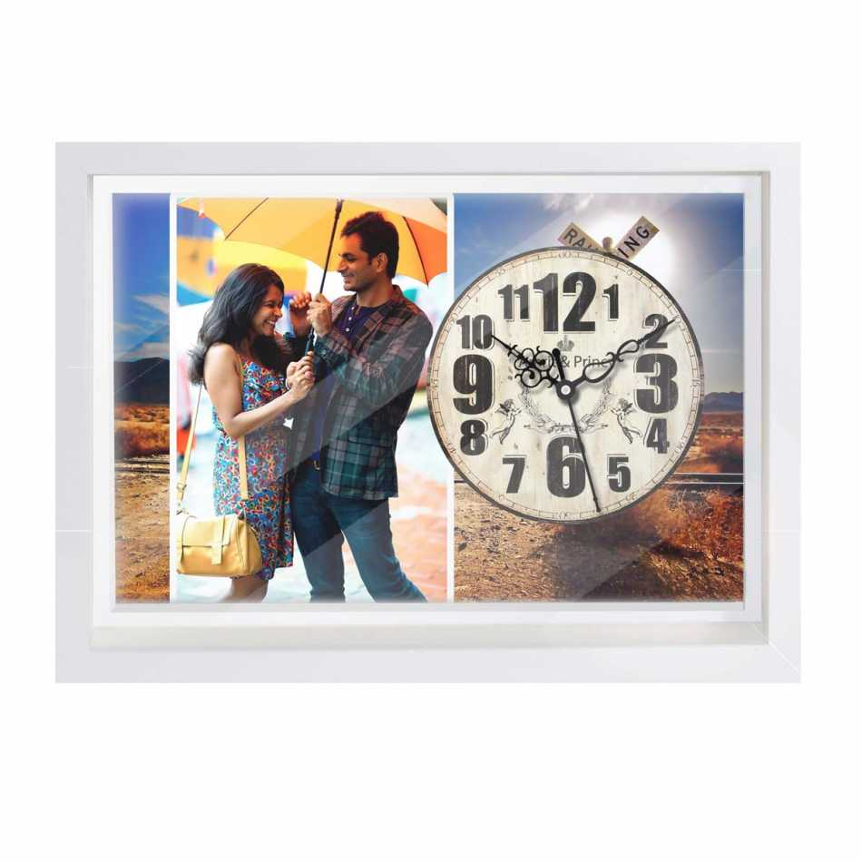 Buy personalized wall clock online dezains personalized photo canvas clock for couples amipublicfo Images