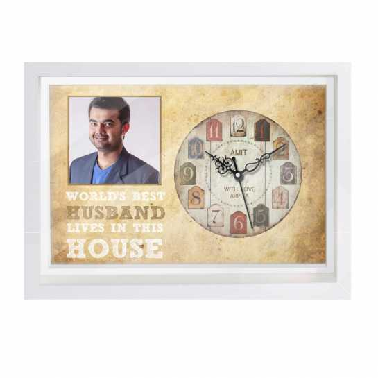 Personalized Photo Canvas Clock for Husband