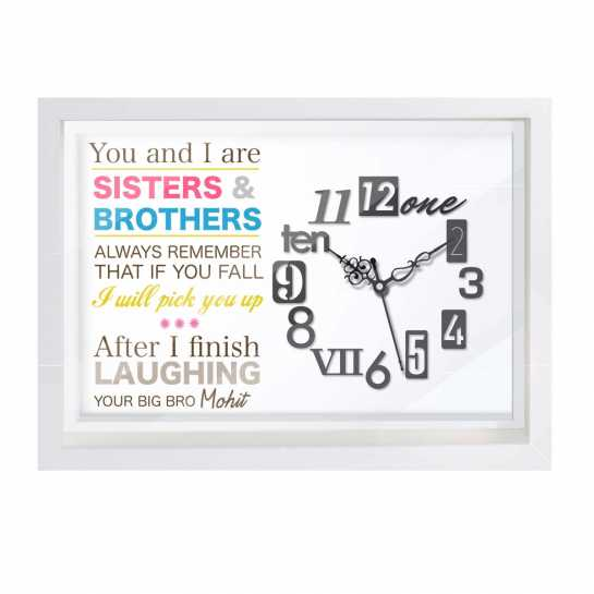 Personalized Canvas Clock for brother and Sister