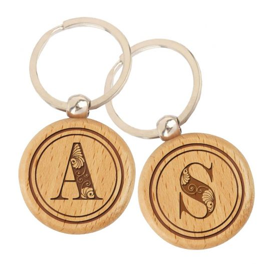 Engraved Wooden Key Chains - Set of 2