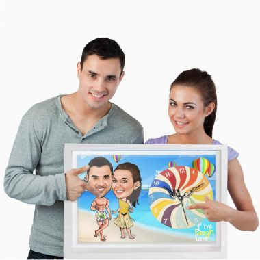 Beach Couple - Personalized Caricature Canvas Wall Clock