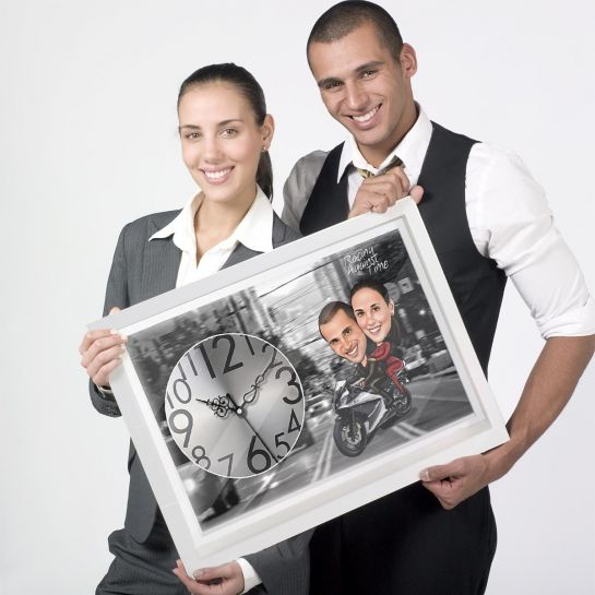 Bike Couple - Personalized Caricature Canvas wall Clock